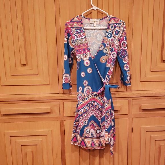 JB by Julie Brown Dresses & Skirts - Julie Brown multi fun print wrap dress